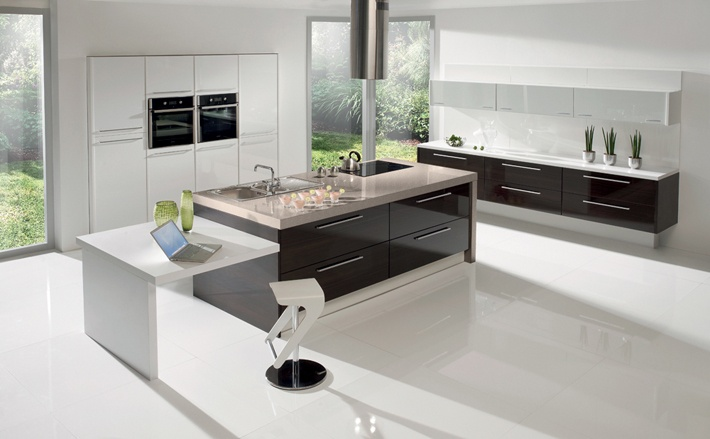 Kitchen Alea Walnut Wenge Gloss White