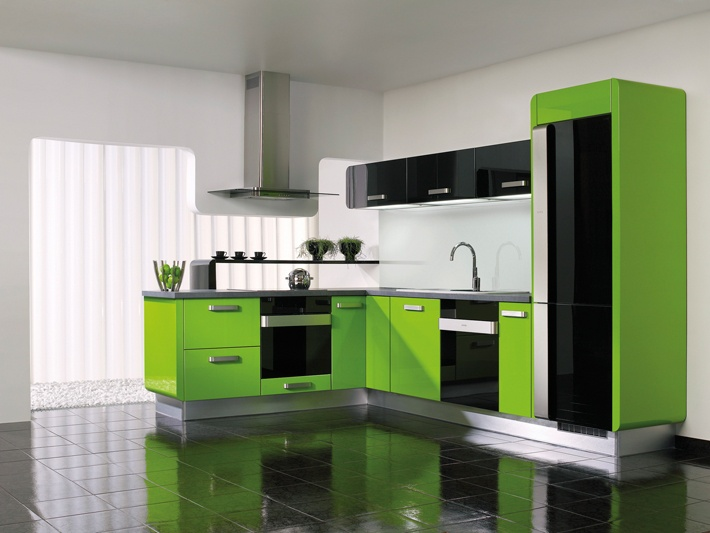 Kitchen Delta Le Green Gloss Black