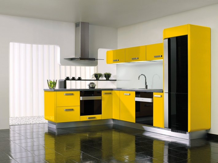 Gorenje interior design kitchen delta yellow for Modern yellow kitchen design