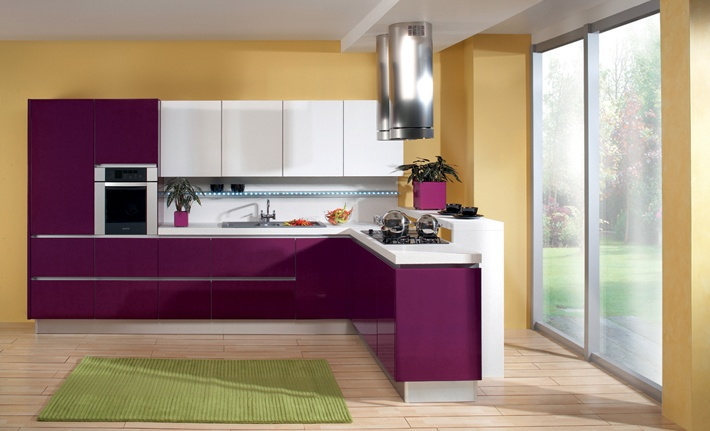 Kitchen Libra Purple High Gloss White