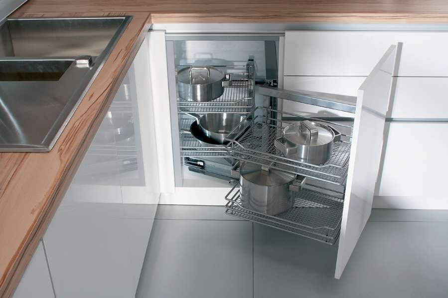Corner Cabinet With Pull Out System Than Enables Usage In All Cabinet  Corners